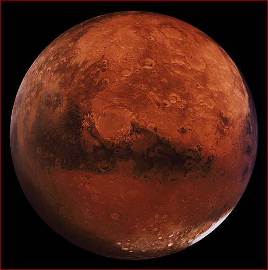 detailed photograph of pitted reddish planet