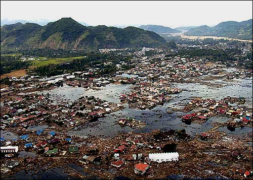 Tsunami destroyed village, pools of water remain