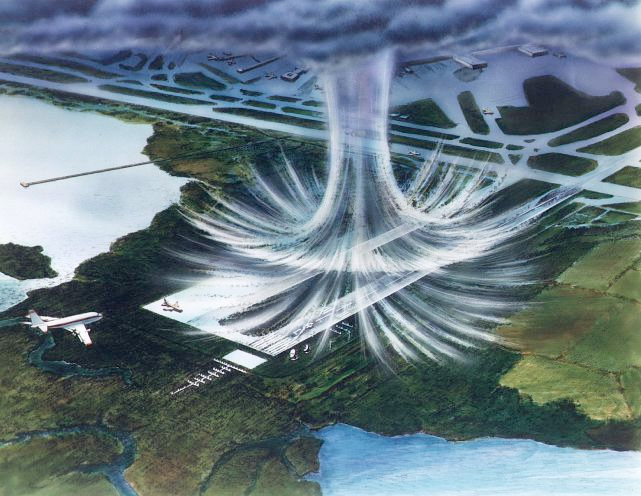 NASA illustration of microburst descending on airport runway