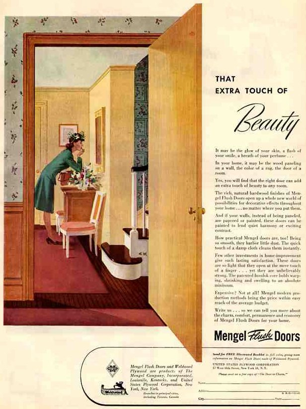 Illustrated ad of interior doorway and open wooden door with a woman inside room applying lipstick