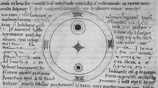 black ink on grey shows sunspot drawing with text by John Worcester from 12th century