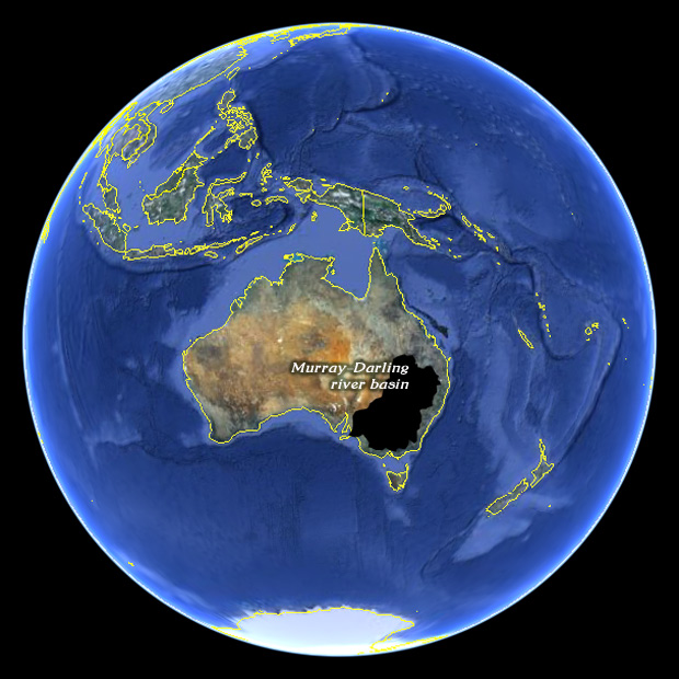 world map, with Murray-Darling river basin, in Australia, highlighted