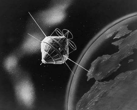 black and white image of 1st satellite orbiting earth