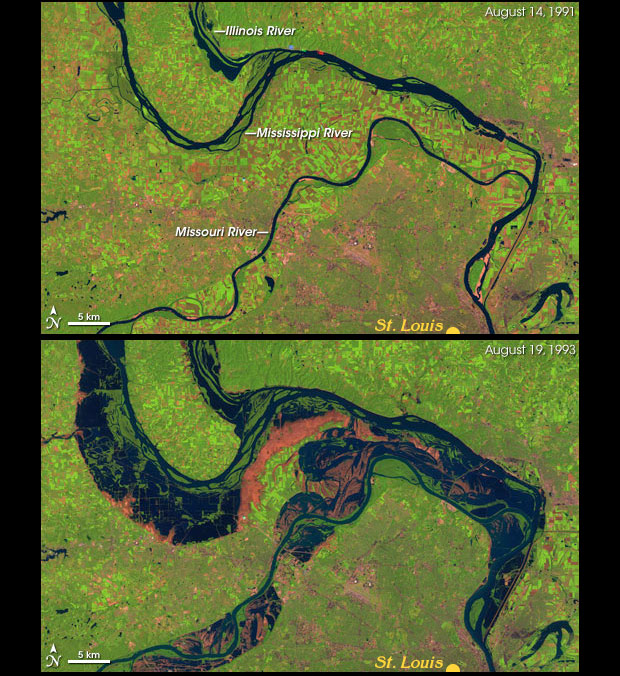 1991 shows thin blue lines of rivers; they have swelled significantly by 1993