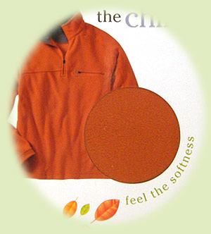 L.L. Bean catalog with orange fleece jacket on cover, circular hole with orange fleece showing through