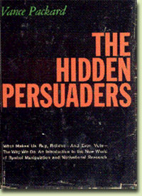 Black book cover with The Hidden Persuaders in orange text and author's name in green at top left corner