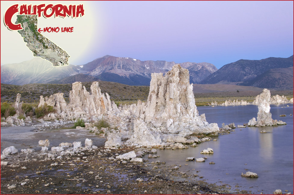 Lake shore with tall white rock columns, snow-speckled mountains in the distance. Location of mono lake in CA on inset map