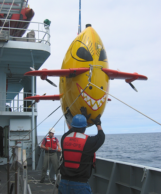 Man steadies a dangling yellow submarine with red fins. A toothy grin is painted on the front