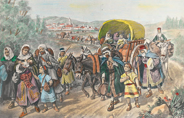 Painting of dozens of people in medieval clothing in a long line down a road leaving an old city