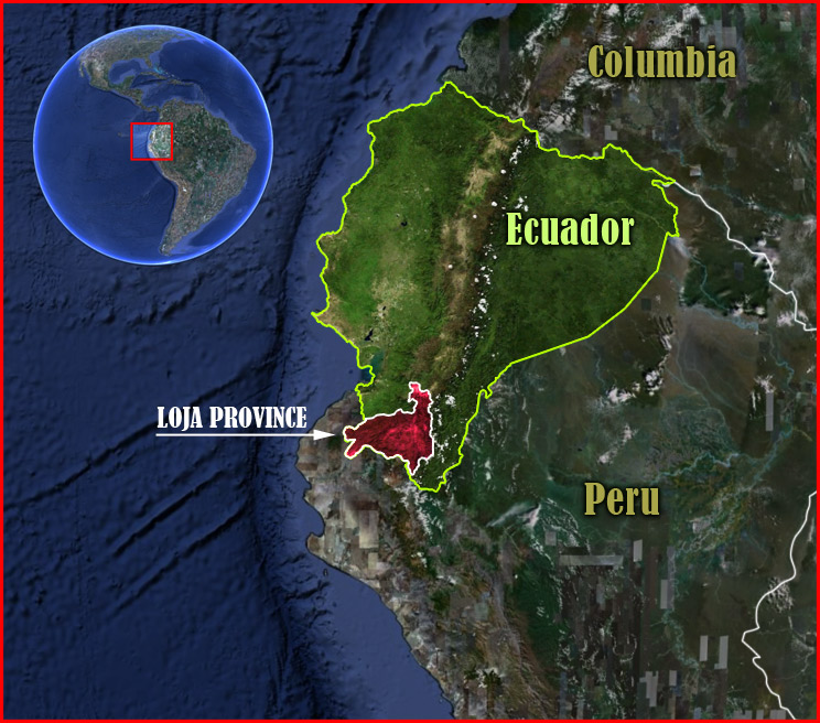 satellite image highlights western South America, specifically Ecuador and the Loja region in red at southern tip of the country