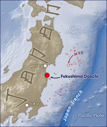 Map of Japan, circles indicate earthquakes, largest off east coast at 9.0, Sendai largest nearest town.