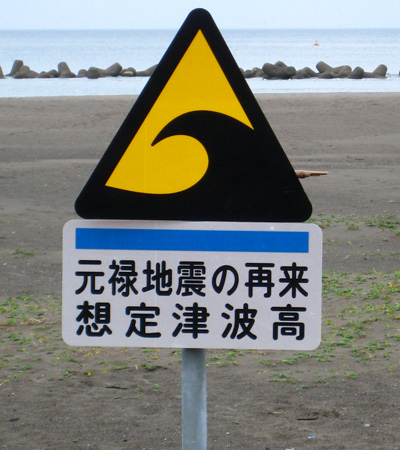 Triangular yellow sign with wave symbol in black and Japanese text below.