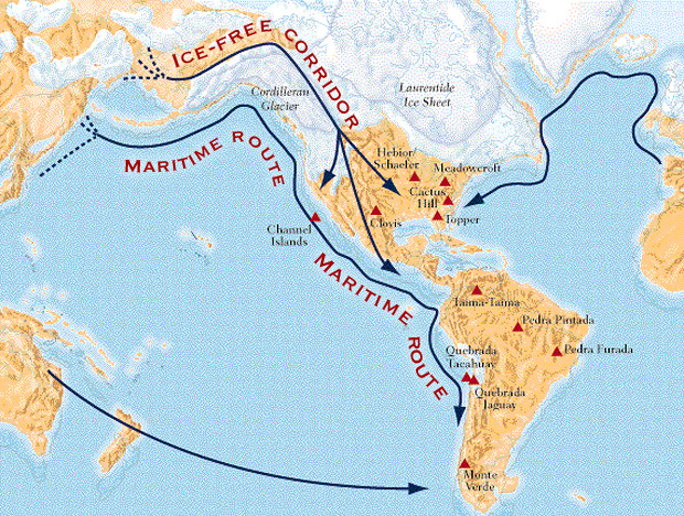 Migrants from northeast Eurasia moved into the Americas through the ice-free corridor in Canada, or along the Alaska coast