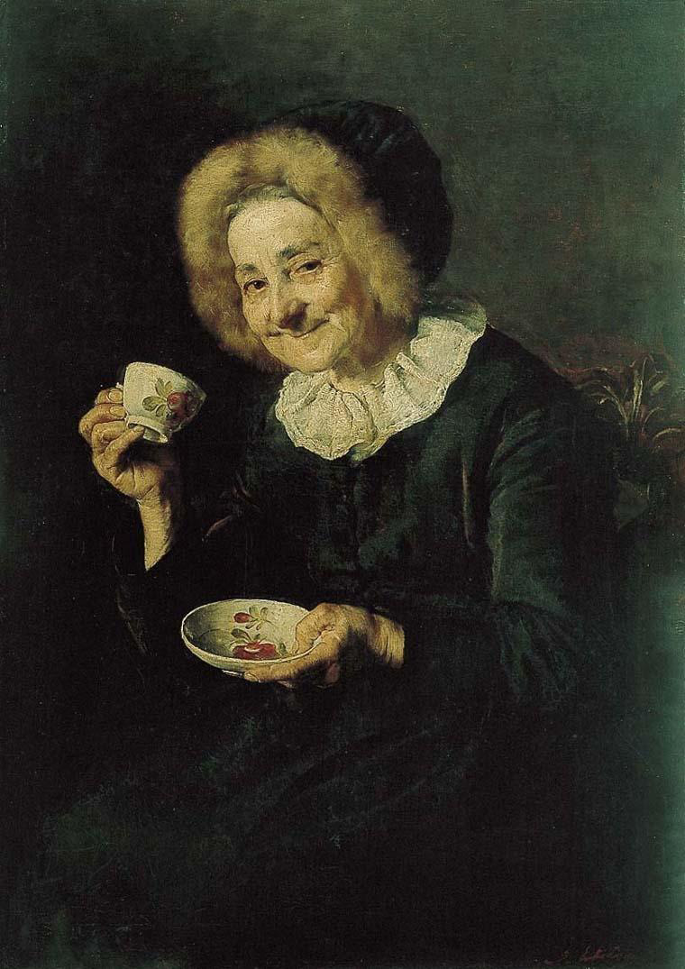 Painting of smiling old women in black dress about to sip out of a cup of coffee