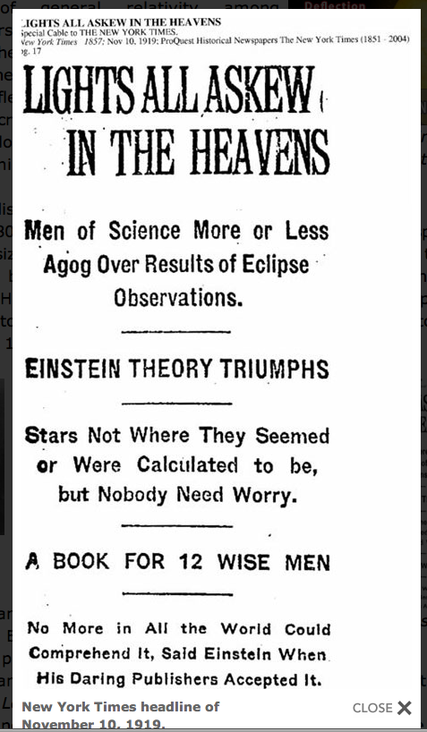 N.Y. Times headline: 'Lights all askew in the heavens, Men of science are more or less agog over results of eclipse observations'