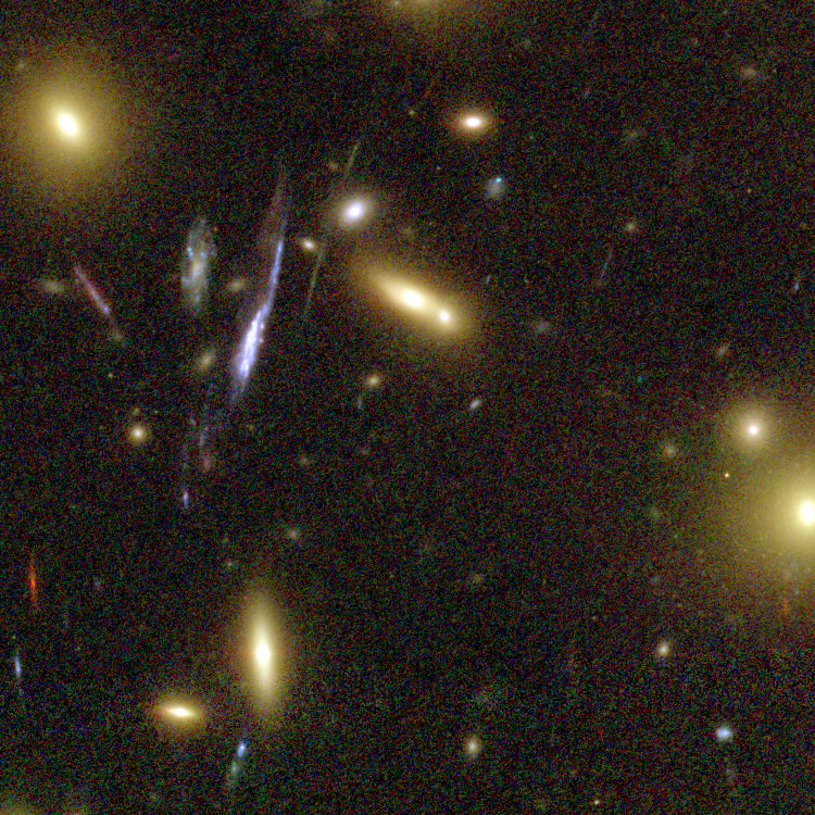 Mass of bright, blob-shaped galaxies and some thin arcs surrounding them.
