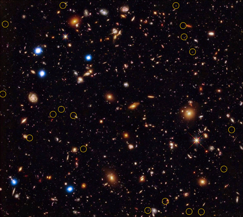 Black background with orange, red and blue stars, yellow circles around a scattered few