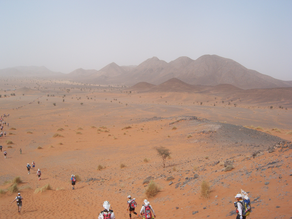 Dozens of people running in line into the distance in large open desert with mountains on right