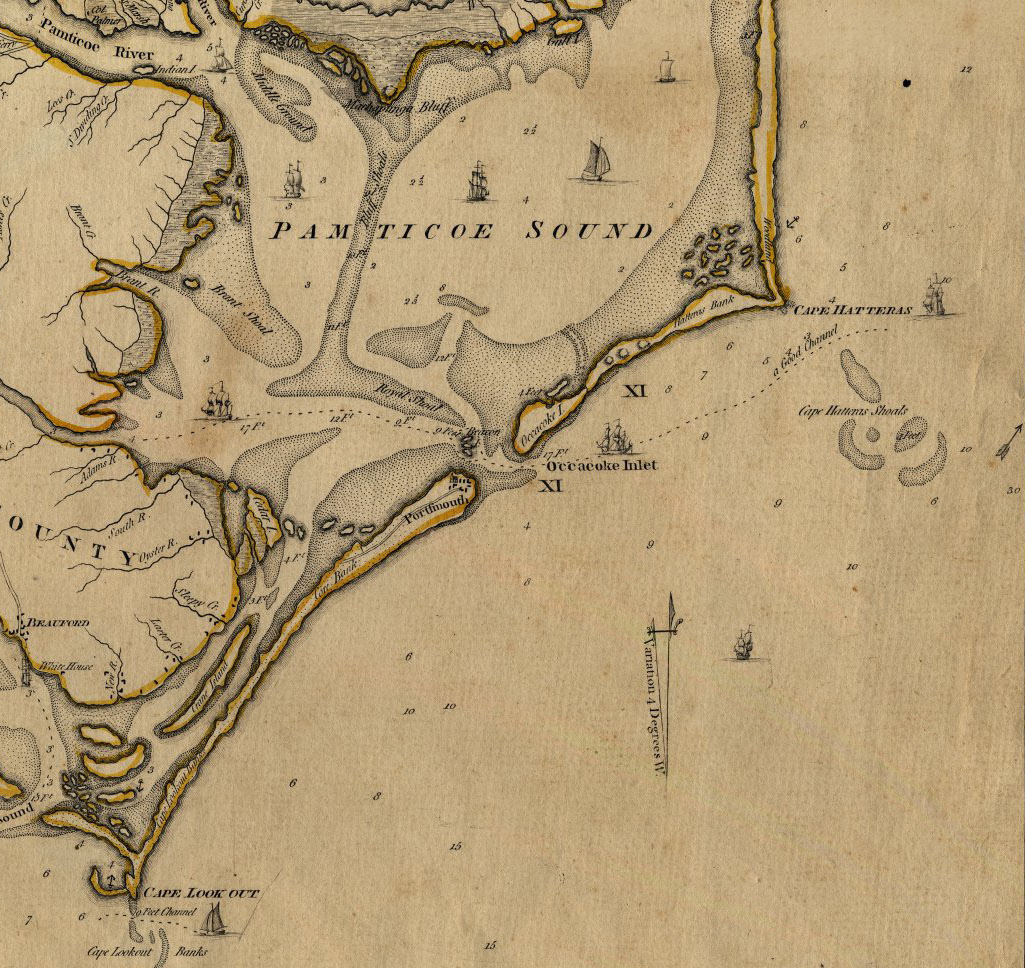 Yellowed old map showing a jagged coastline with narrow inlets surrounding a sound