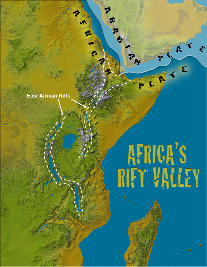Map of northeast corner of Africa, rift lines run through Kenya, Somalia and Ethiopia