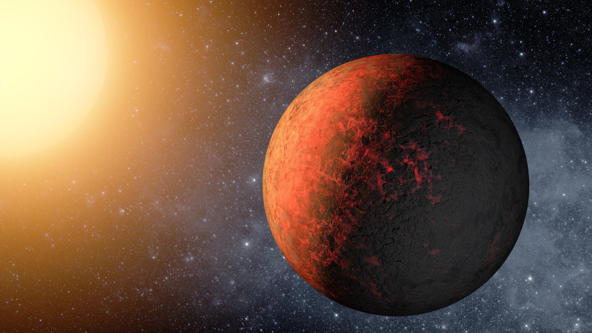Illustration of brown planet mottled with red in space and sun-like star in the distance
