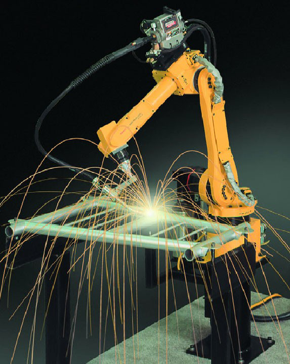 range arm-like machine welds a metal frame