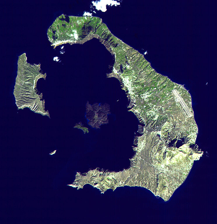 Aerial picture of a crater-shaped island