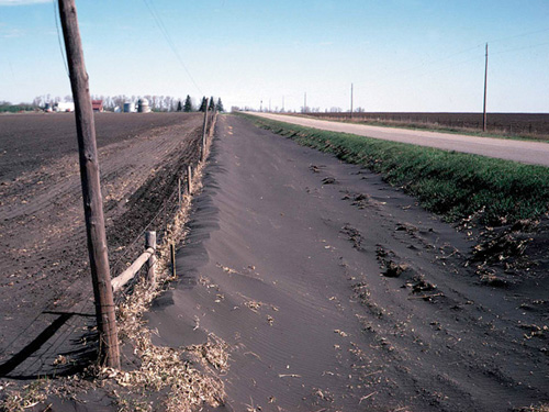 Roadside ditch with eroded soil