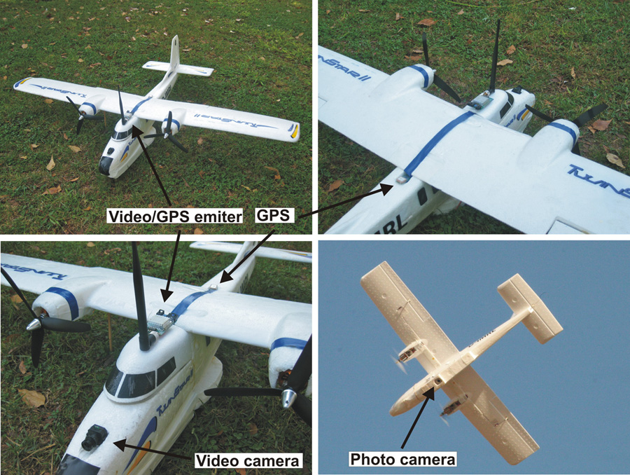 Four-part photo showing a small unmanned plane; three on ground, one in flight. Cameras and GPS locations identified.
