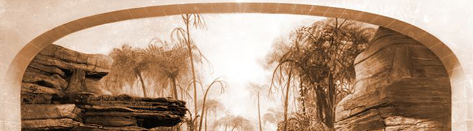 Artist rendition of ancient forest in sepia tones