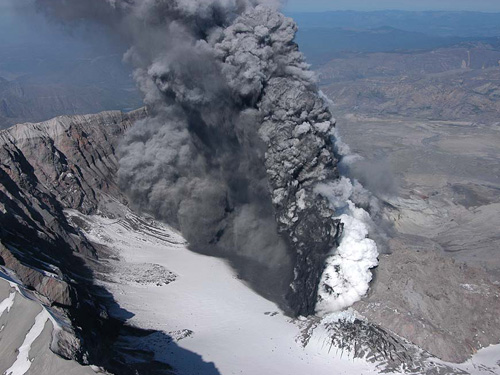 volcano with smoke billowing out