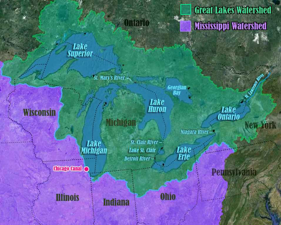 Great Lakes Watershed and Mississippi watershed both highlighted on satellite view of Great Lakes region