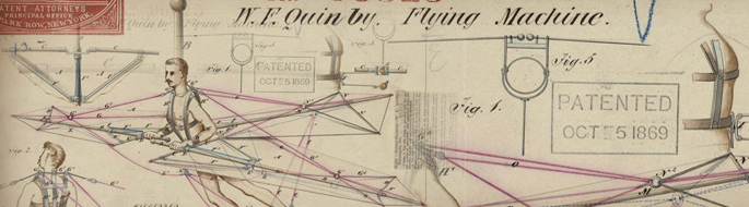 vintage patent (1869) shows illustration of ''flying machine' and man operating it