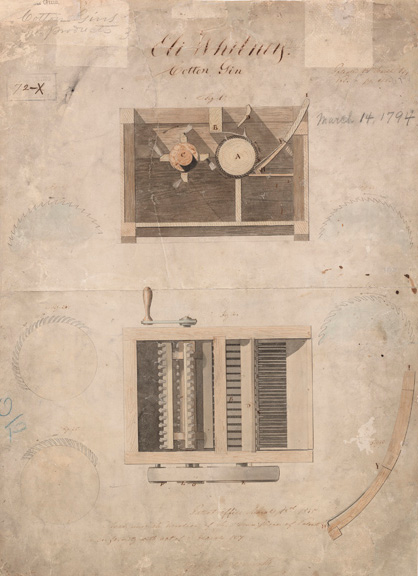 "Top and side drawings of a rectangular machine, marked ""Eli Whitney, Cotton Gin,"" and ""March 14, 1794."""