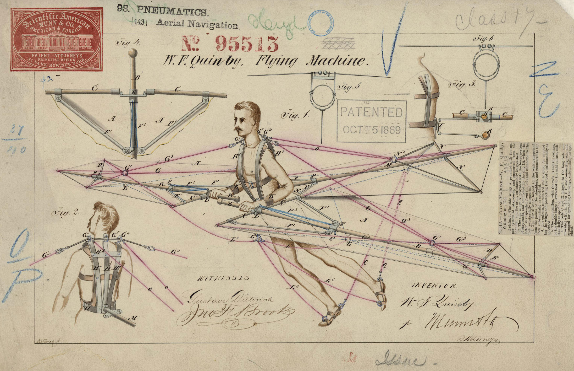 "Detailed drawing of a flying device strapped to a man. ""Patented Oct. 5, 1869"" stamped in the middle."