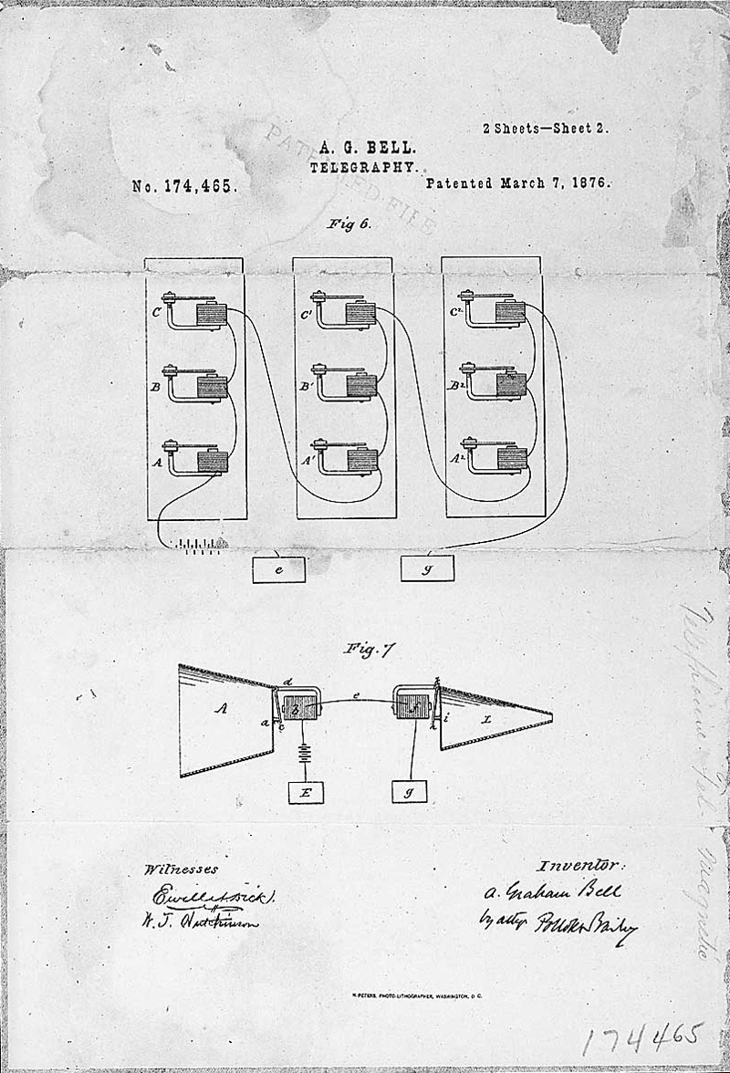 Telegraphy,Patented March 7, 1876. Drawing shows magnetic coils, with horns to amplify input and output.