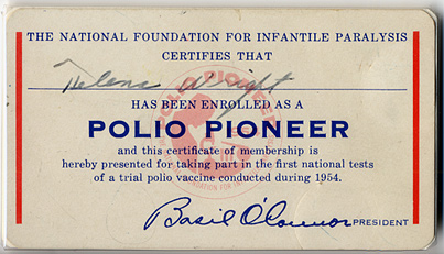 Card certifies bearer of being a 'Polio Pioneer'
