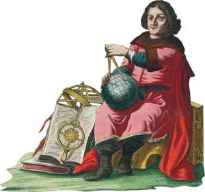 17th century hand-colored engraving of scientist with compass