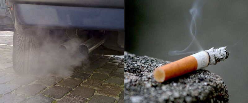 Left: Exhaust coming out of a car's tail pipes. Right: Burning cigarette sitting on concrete.