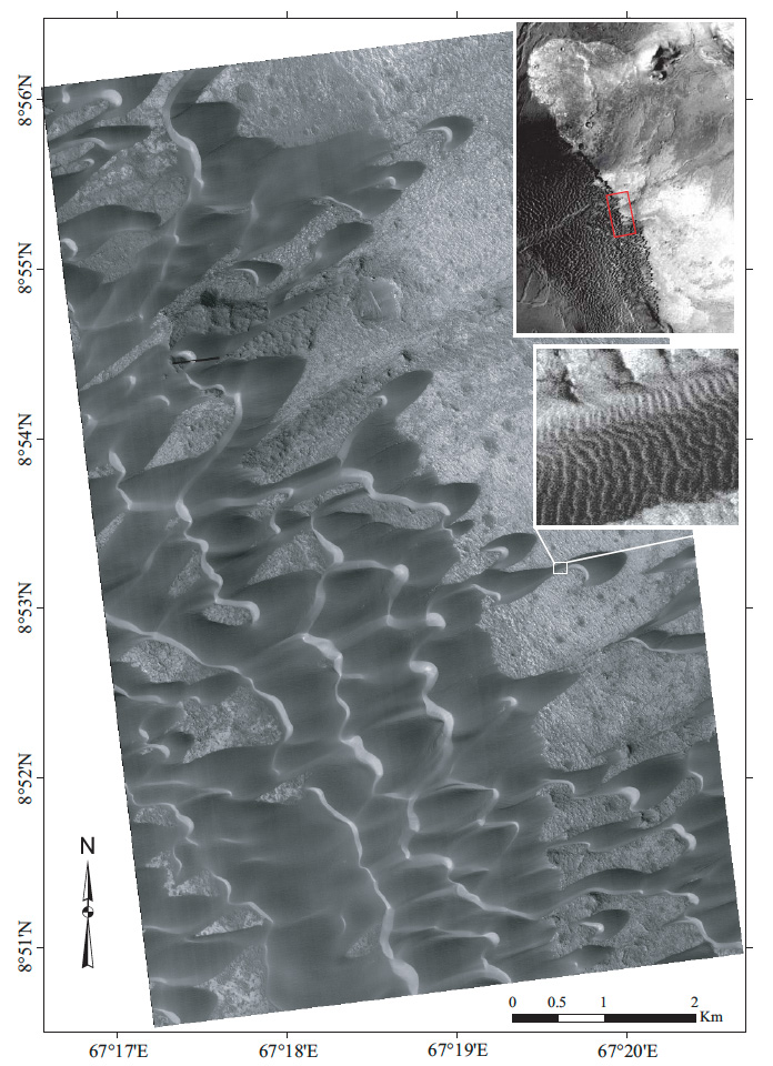 Photo of sand dunes emerging from a flat surface; insets are zoomed-out and -in
