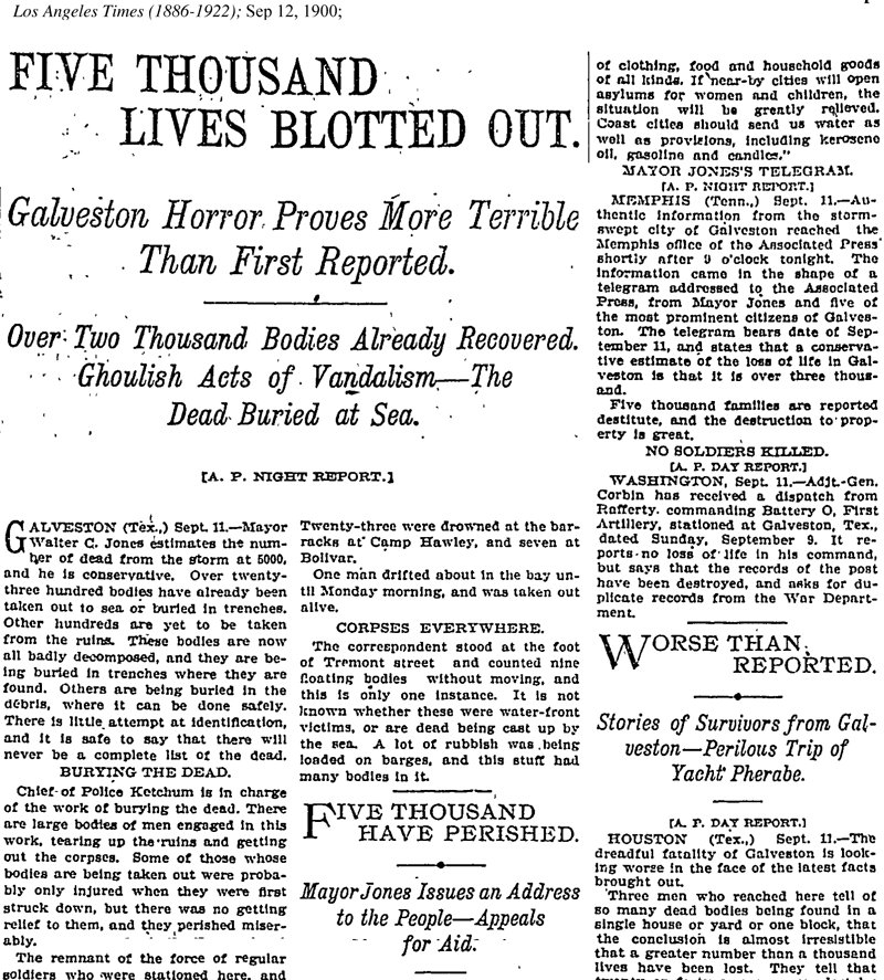 """Old newspaper headline with three columns of text reporting """"Galveston horror"""" of the 1900 hurricane."""