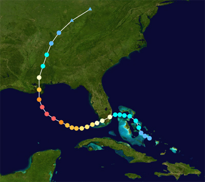 Abnormal C-shaped trail tracking intensity across map of southeast U.S.