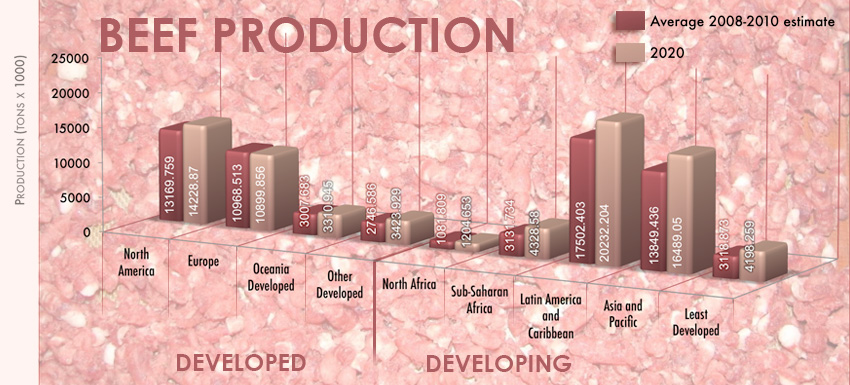 Graph compares current production to 2020 projection; biggest rise in Asia-Pacific and Latin America-Caribbean regions.
