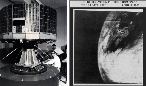 Left: Scientists observe a large, circular satellite in a room. Right: Grainy view of Earth from space.