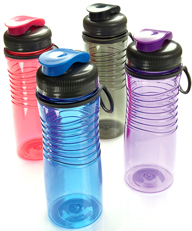 Four plastic re-usable bottles of different colors