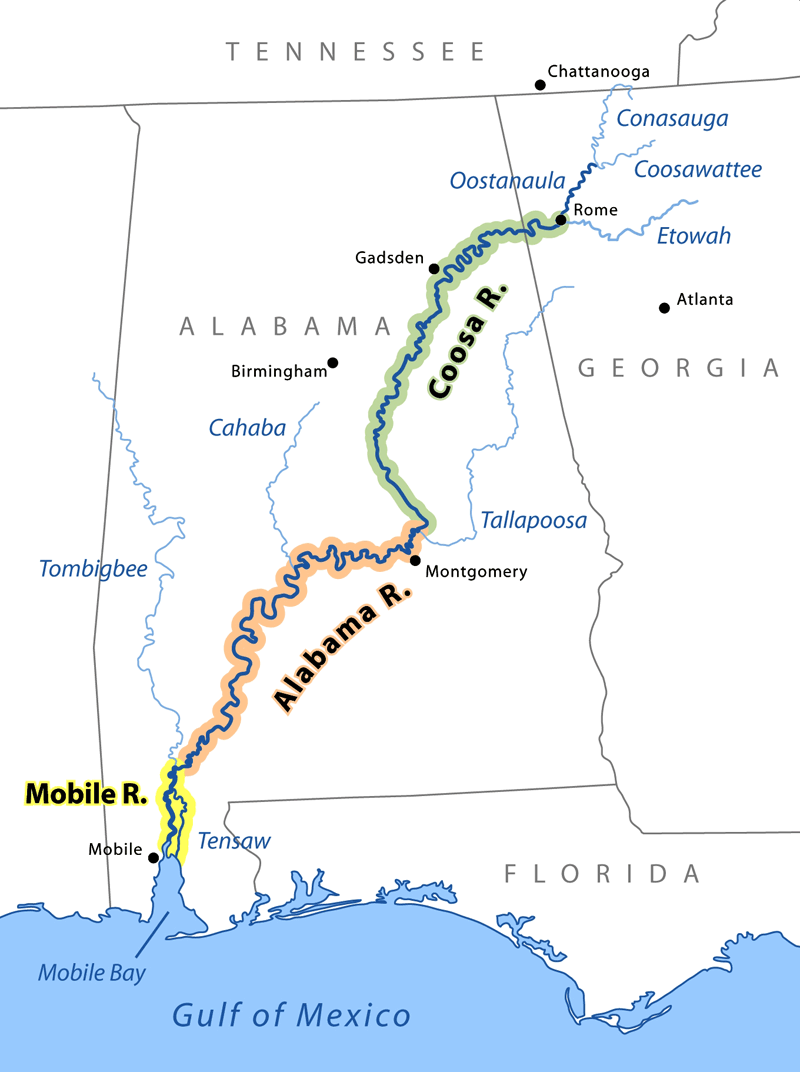 Coosa River runs southwest through Alabama and Georgia, meets Alabama River.