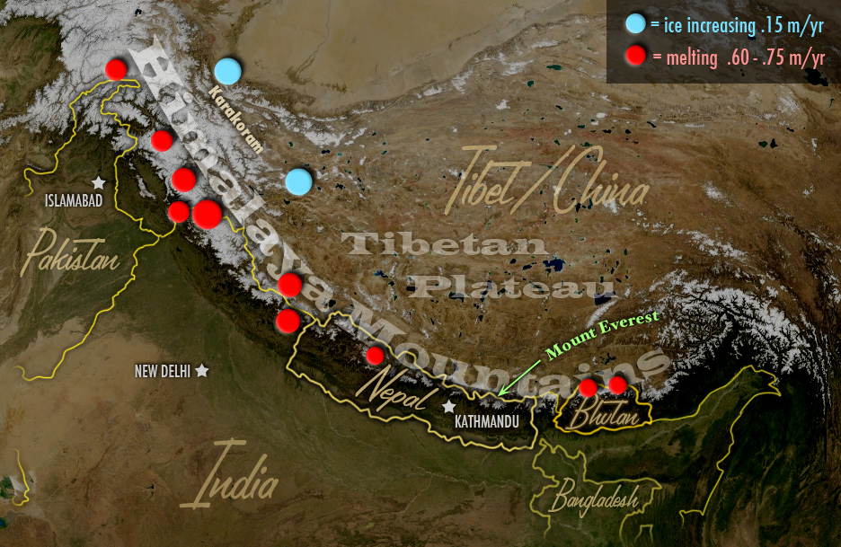 map of himalaya range shows spots with increased melting of  glacial ice (and a few spots with increased ice)