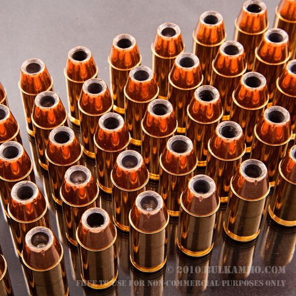 Rack of bullets stand on end; hollow points facing up