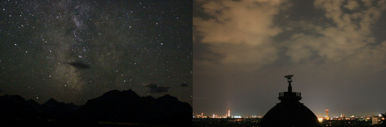 Left: Very starry night in the mountains; right:  bright, cloudy night sky in the city; no stars visible.