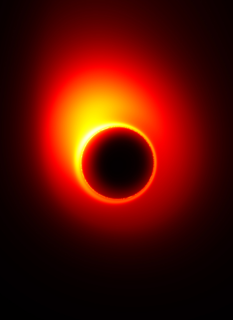 Bright red light circle with black hole ringed by yellow light in center